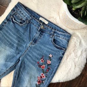 floral embroidered high rise skinny jeans